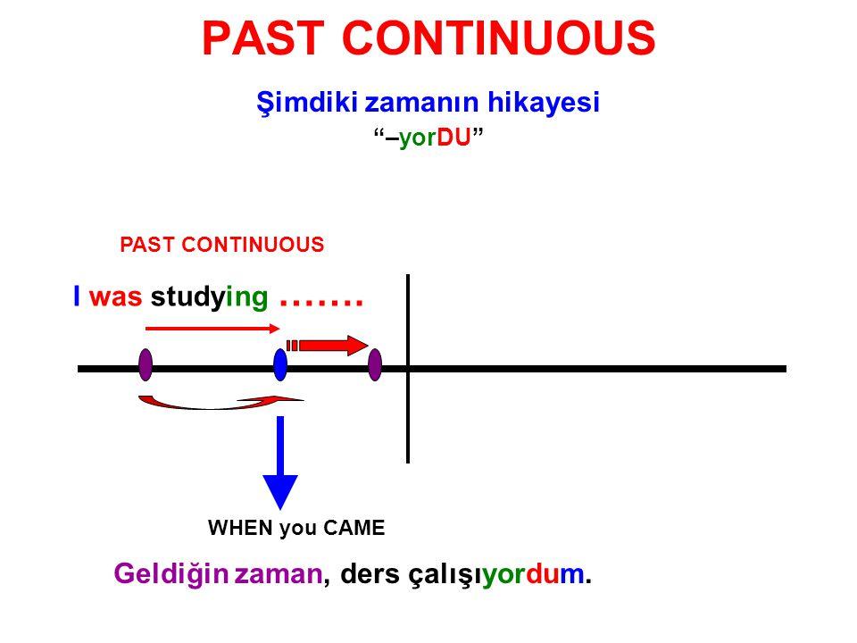 """PAST CONTINUOUS Şimdiki zamanın hikayesi """"–yorDU"""" PAST CONTINUOUS I was studying ……. WHEN you CAME Geldiğin zaman, ders çalışıyordum."""