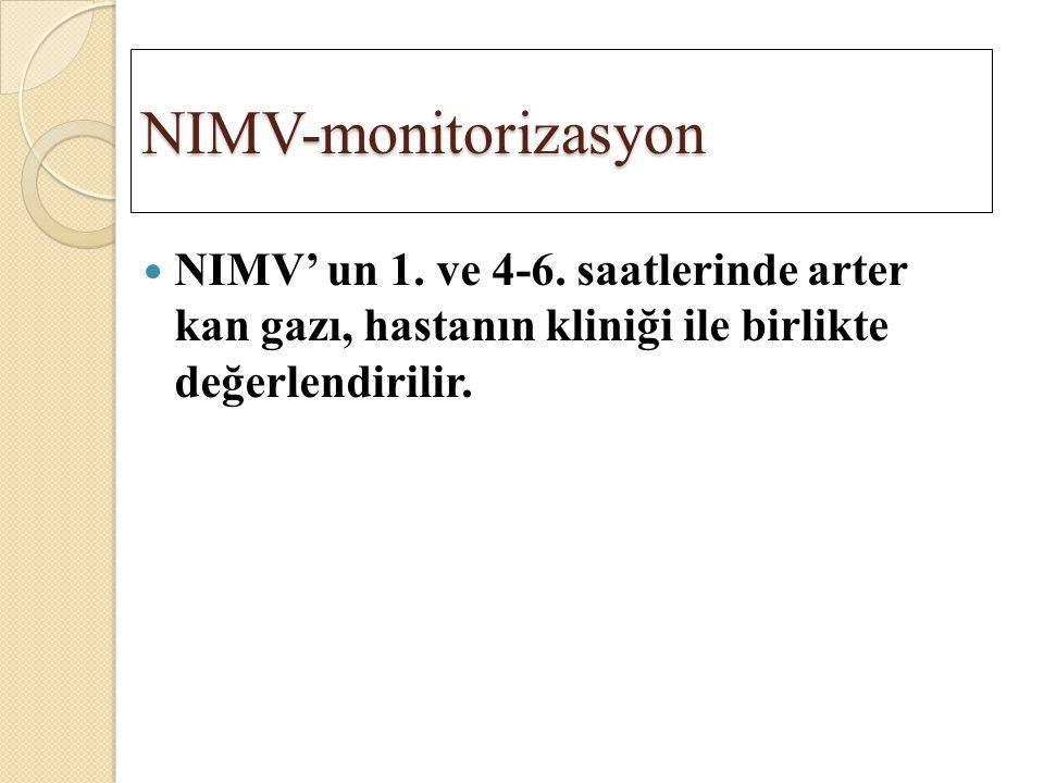 NIMV-monitorizasyon NIMV' un 1. ve 4-6. saatlerinde arter kan gazı, hastanın kliniği ile birlikte değerlendirilir.