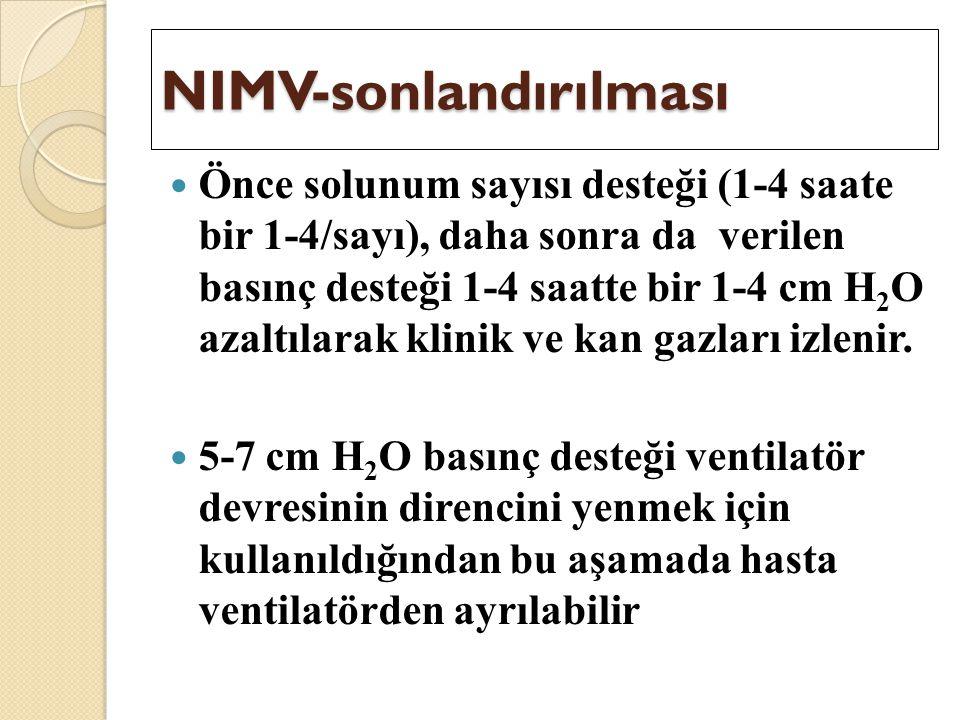 NIMV-sonlandırılması Önce solunum sayısı desteği (1-4 saate bir 1-4/sayı), daha sonra da verilen basınç desteği 1-4 saatte bir 1-4 cm H 2 O azaltılara