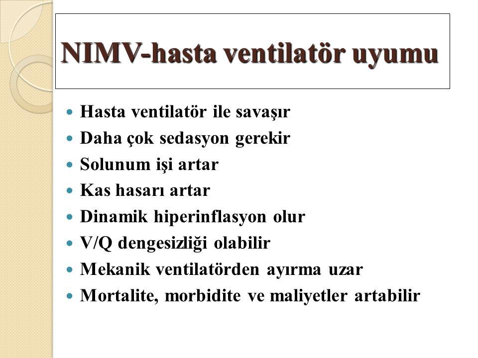 Hasta ventilatör ile savaşır Daha çok sedasyon gerekir Solunum işi artar Kas hasarı artar Dinamik hiperinflasyon olur V/Q dengesizliği olabilir Mekani