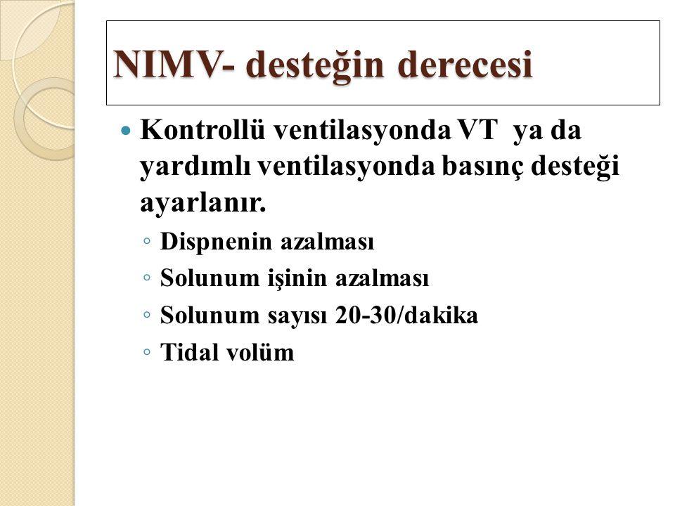 NIMV- desteğin derecesi Kontrollü ventilasyonda VT ya da yardımlı ventilasyonda basınç desteği ayarlanır. ◦ Dispnenin azalması ◦ Solunum işinin azalma