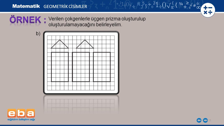 11 GEOMETRİK CİSİMLER Verilen çokgenlerle üçgen prizma oluşturulup oluşturulamayacağını belirleyelim. b)
