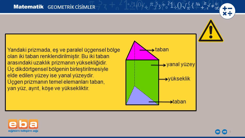 5 GEOMETRİK CİSİMLER Yandaki prizmada, eş ve paralel üçgensel bölge olan iki taban renklendirilmiştir. Bu iki taban arasındaki uzaklık prizmanın yükse