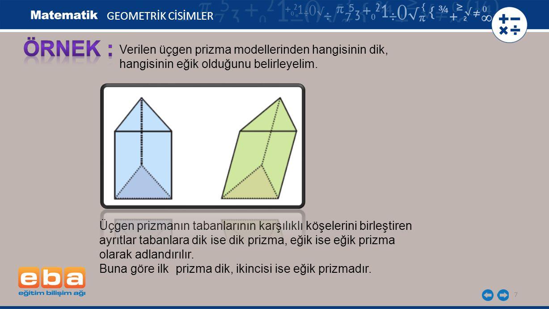 7 GEOMETRİK CİSİMLER Verilen üçgen prizma modellerinden hangisinin dik, hangisinin eğik olduğunu belirleyelim. Üçgen prizmanın tabanlarının karşılıklı