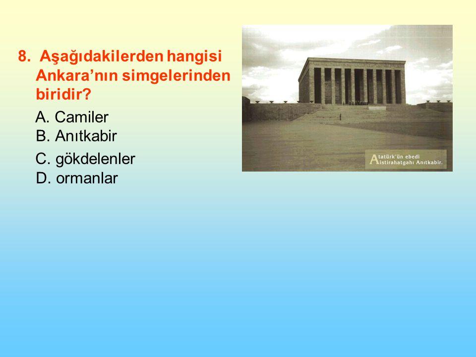 8.Aşağıdakilerden hangisi Ankara'nın simgelerinden biridir.