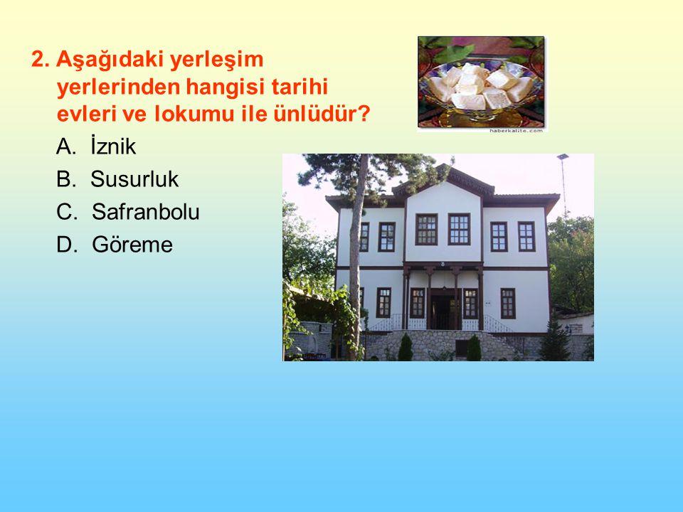 2.Aşağıdaki yerleşim yerlerinden hangisi tarihi evleri ve lokumu ile ünlüdür.