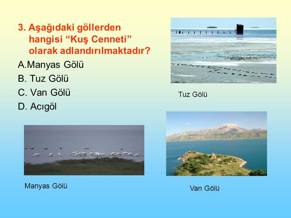 3.Aşağıdaki göllerden hangisi Kuş Cenneti olarak adlandırılmaktadır.