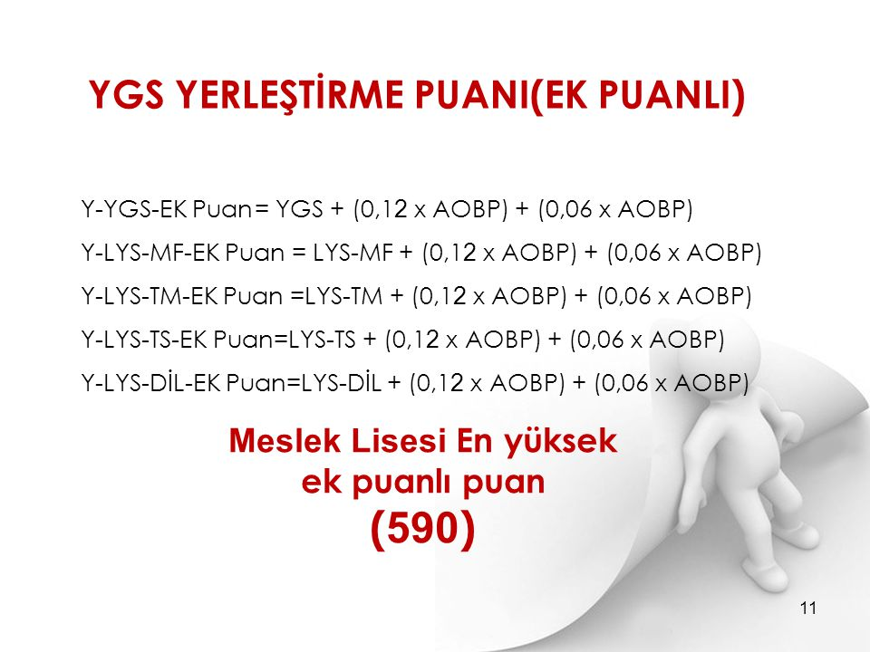 Y-YGS-EK Puan= YGS + (0,1 2 x AOBP) + (0,06 x AOBP) Y-LYS-MF-EK Puan = LYS-MF + (0,1 2 x AOBP) + (0,06 x AOBP) Y-LYS-TM-EK Puan =LYS-TM + (0,1 2 x AOB