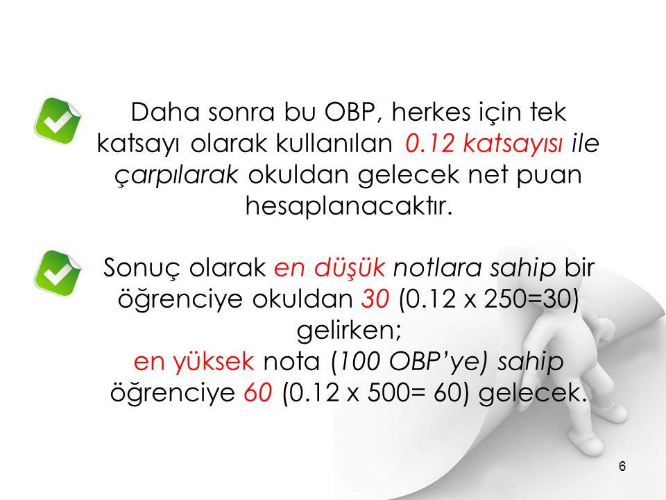 OBP' nın çarpım katsayısı kendi alanındaki bir bölüme yerleşirken 0,12 olacak.