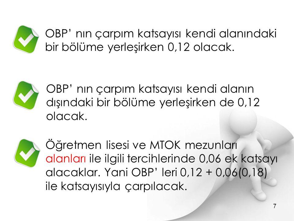 OBP' nın çarpım katsayısı kendi alanındaki bir bölüme yerleşirken 0,12 olacak. Öğretmen lisesi ve MTOK mezunları alanları ile ilgili tercihlerinde 0,0