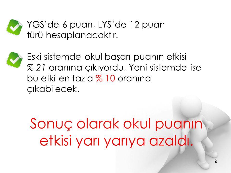Y-YGS =YGS + (0,1 2 x AOBP) Y-LYS-MF =LYS-MF + (0,1 2 x AOBP) Y-LYS-TM =LYS-TM + (0,1 2 x AOBP) Y-LYS-TS =LYS-TS + (0,1 2 x AOBP) Y-LYS-DİL =LYS-DİL + (0,1 2 x AOBP) En yüksek (5 60 ) puan 10 YGS YERLEŞTİRME PUANLARI