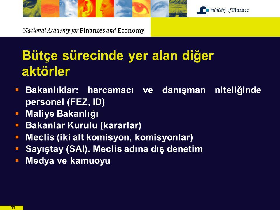 11 Bütçe sürecinde yer alan diğer aktörler  Bakanlıklar: harcamacı ve danışman niteliğinde personel (FEZ, ID)  Maliye Bakanlığı  Bakanlar Kurulu (k