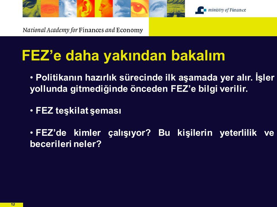 12 FEZ'e daha yakından bakalım Politikanın hazırlık sürecinde ilk aşamada yer alır. İşler yollunda gitmediğinde önceden FEZ'e bilgi verilir. FEZ teşki