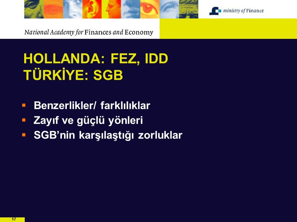 17 HOLLANDA: FEZ, IDD TÜRKİYE: SGB  Benzerlikler/ farklılıklar  Zayıf ve güçlü yönleri  SGB'nin karşılaştığı zorluklar
