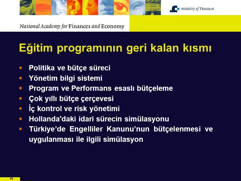 19 Eğitim programının geri kalan kısmı  Politika ve bütçe süreci  Yönetim bilgi sistemi  Program ve Performans esaslı bütçeleme  Çok yıllı bütçe ç