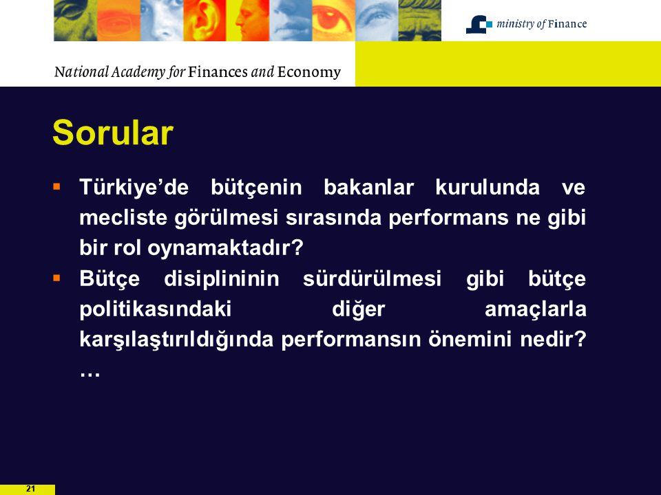 21 Sorular  Türkiye'de bütçenin bakanlar kurulunda ve mecliste görülmesi sırasında performans ne gibi bir rol oynamaktadır?  Bütçe disiplininin sürd
