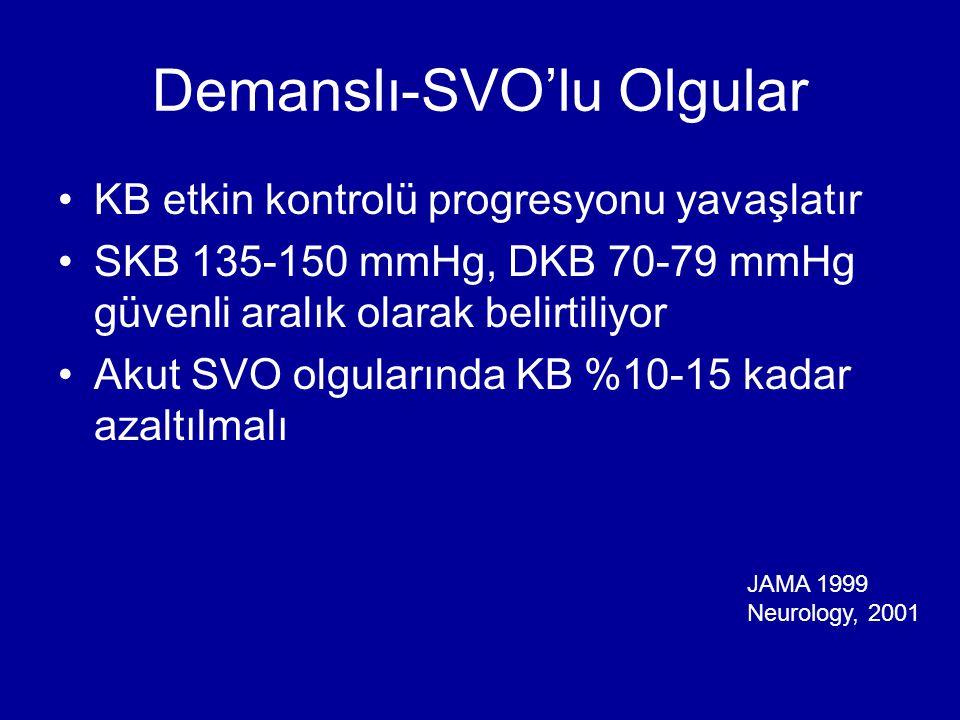 Demanslı-SVO'lu Olgular KB etkin kontrolü progresyonu yavaşlatır SKB 135-150 mmHg, DKB 70-79 mmHg güvenli aralık olarak belirtiliyor Akut SVO olgularında KB %10-15 kadar azaltılmalı JAMA 1999 Neurology, 2001