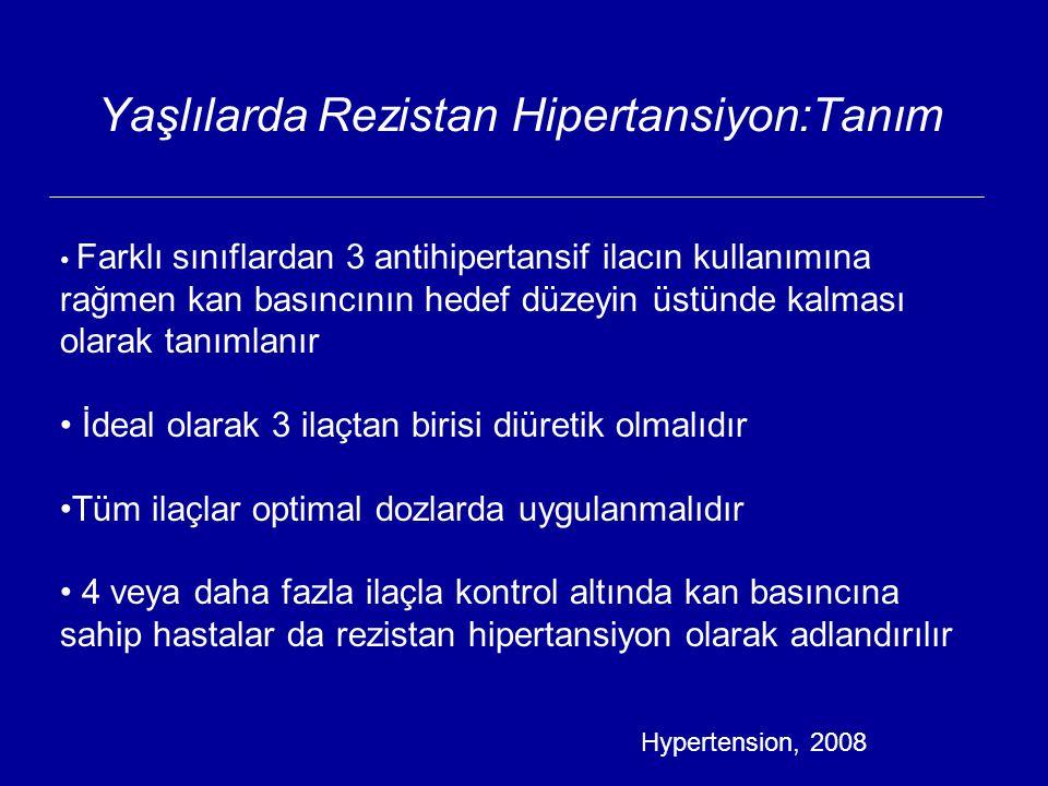 Yaşlılarda Rezistan Hipertansiyon:Tanım Farklı sınıflardan 3 antihipertansif ilacın kullanımına rağmen kan basıncının hedef düzeyin üstünde kalması olarak tanımlanır İdeal olarak 3 ilaçtan birisi diüretik olmalıdır Tüm ilaçlar optimal dozlarda uygulanmalıdır 4 veya daha fazla ilaçla kontrol altında kan basıncına sahip hastalar da rezistan hipertansiyon olarak adlandırılır Hypertension, 2008