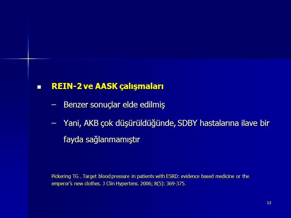 12 REIN-2 ve AASK çalışmaları REIN-2 ve AASK çalışmaları –Benzer sonuçlar elde edilmiş –Yani, AKB çok düşürüldüğünde, SDBY hastalarına ilave bir fayda