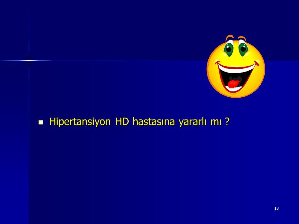 13 Hipertansiyon HD hastasına yararlı mı ? Hipertansiyon HD hastasına yararlı mı ?