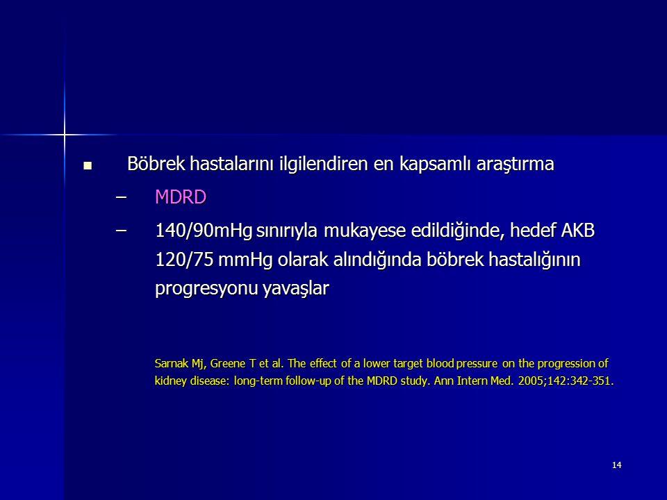 14 Böbrek hastalarını ilgilendiren en kapsamlı araştırma Böbrek hastalarını ilgilendiren en kapsamlı araştırma –MDRD –140/90mHg sınırıyla mukayese edi