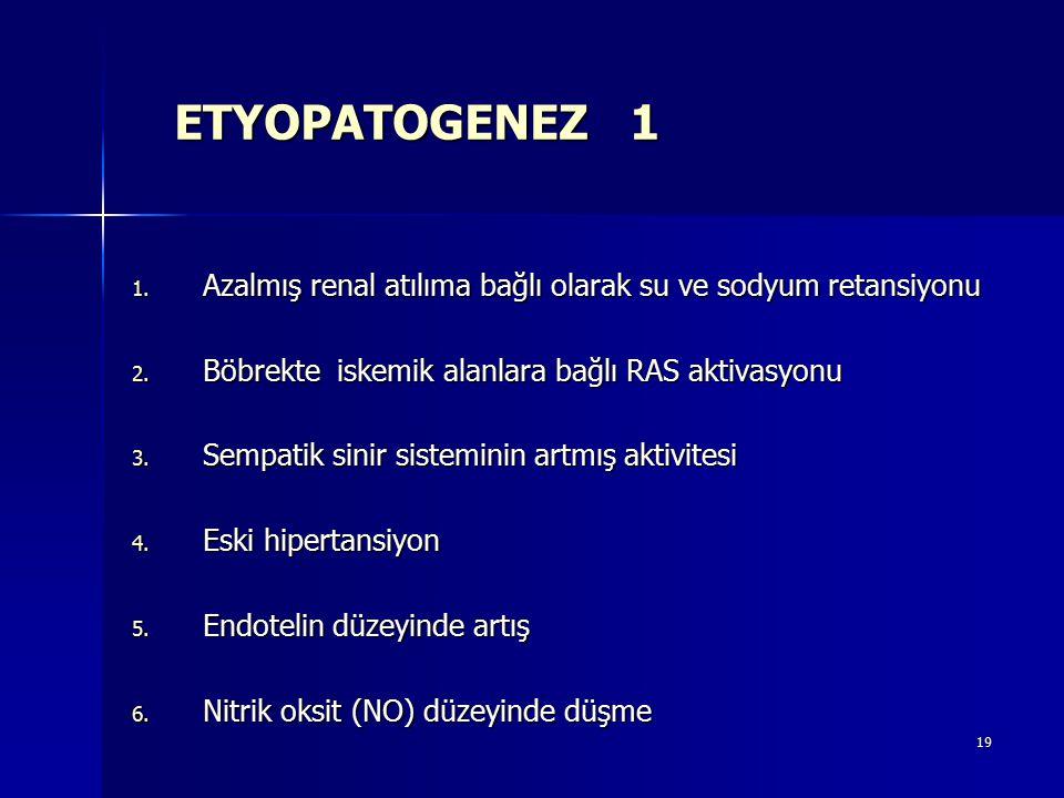 19 ETYOPATOGENEZ 1 1. Azalmış renal atılıma bağlı olarak su ve sodyum retansiyonu 2. Böbrekte iskemik alanlara bağlı RAS aktivasyonu 3. Sempatik sinir