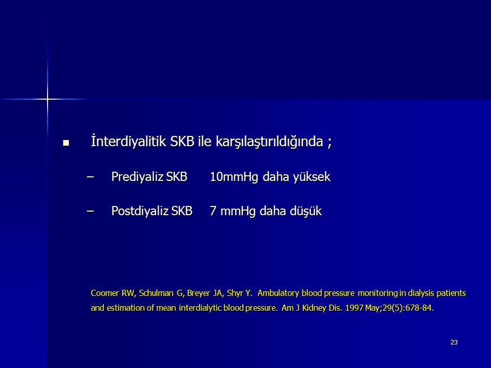 23 İnterdiyalitik SKB ile karşılaştırıldığında ; İnterdiyalitik SKB ile karşılaştırıldığında ; –Prediyaliz SKB 10mmHg daha yüksek –Postdiyaliz SKB7 mm