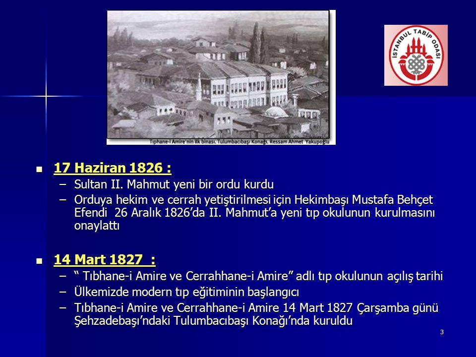 3 17 Haziran 1826 : 17 Haziran 1826 : –Sultan II. Mahmut yeni bir ordu kurdu –Orduya hekim ve cerrah yetiştirilmesi için Hekimbaşı Mustafa Behçet Efen