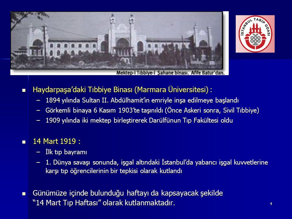 4 Haydarpaşa'daki Tıbbiye Binası (Marmara Üniversitesi) : Haydarpaşa'daki Tıbbiye Binası (Marmara Üniversitesi) : –1894 yılında Sultan II. Abdülhamit'