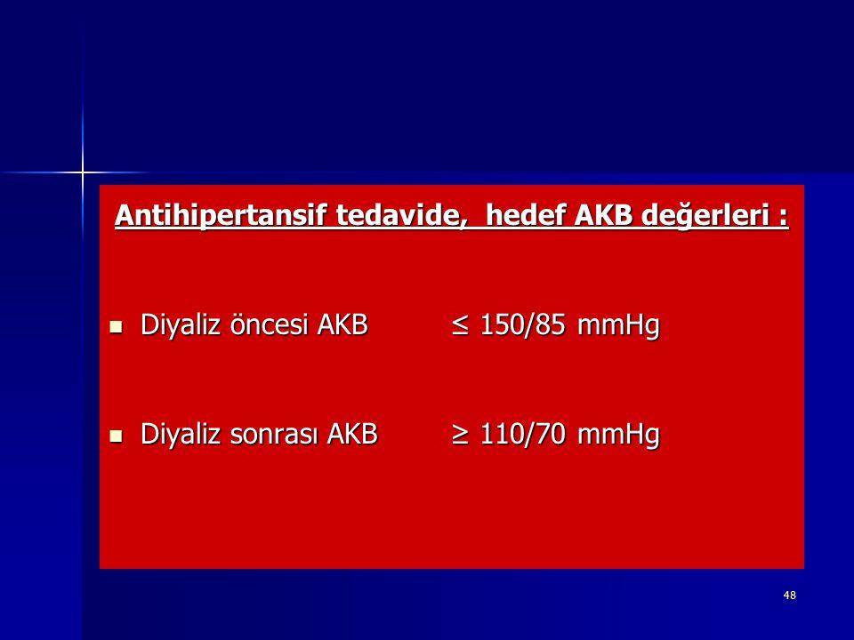 48 Antihipertansif tedavide, hedef AKB değerleri : Diyaliz öncesi AKB ≤ 150/85 mmHg Diyaliz öncesi AKB ≤ 150/85 mmHg Diyaliz sonrası AKB ≥ 110/70 mmHg
