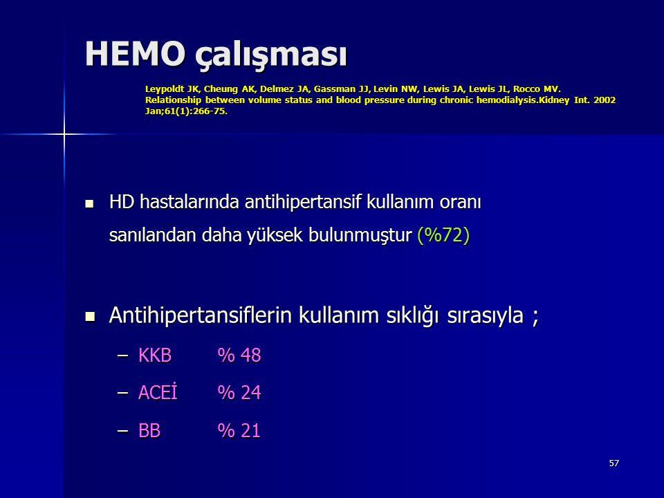 57 HEMO çalışması Leypoldt JK, Cheung AK, Delmez JA, Gassman JJ, Levin NW, Lewis JA, Lewis JL, Rocco MV. Relationship between volume status and blood