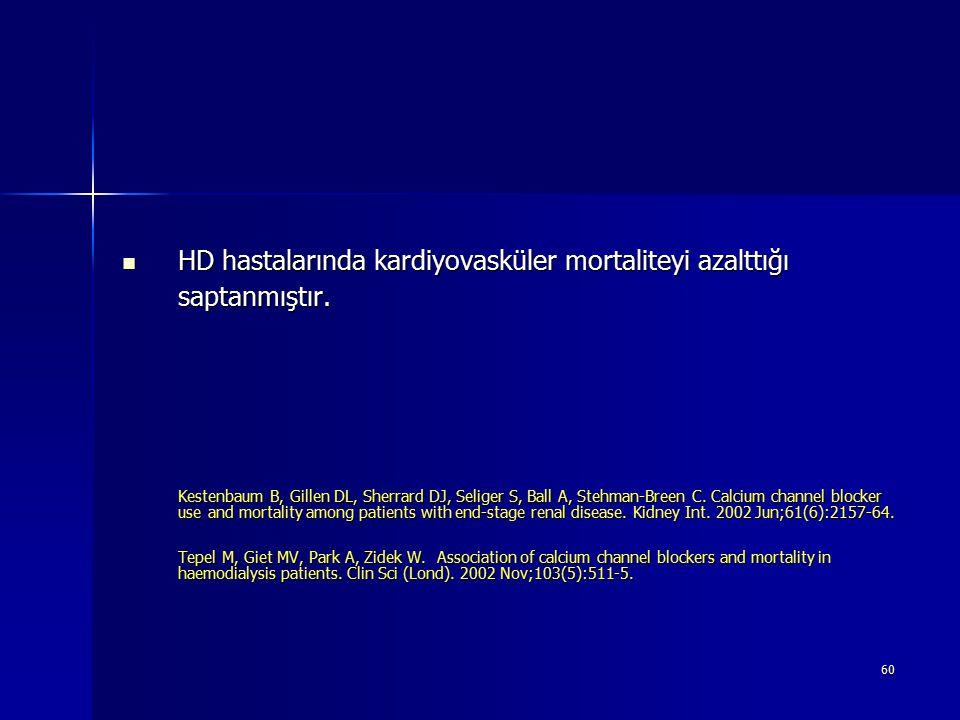 60 HD hastalarında kardiyovasküler mortaliteyi azalttığı saptanmıştır. HD hastalarında kardiyovasküler mortaliteyi azalttığı saptanmıştır. Kestenbaum