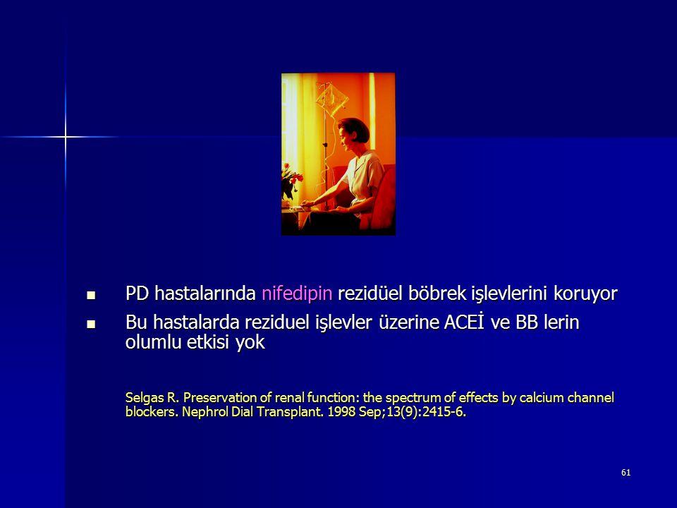61 PD hastalarında nifedipin rezidüel böbrek işlevlerini koruyor PD hastalarında nifedipin rezidüel böbrek işlevlerini koruyor Bu hastalarda reziduel