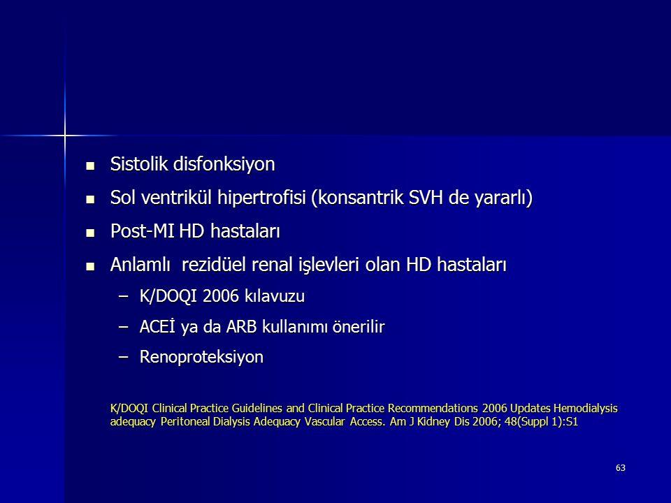 63 Sistolik disfonksiyon Sistolik disfonksiyon Sol ventrikül hipertrofisi (konsantrik SVH de yararlı) Sol ventrikül hipertrofisi (konsantrik SVH de ya