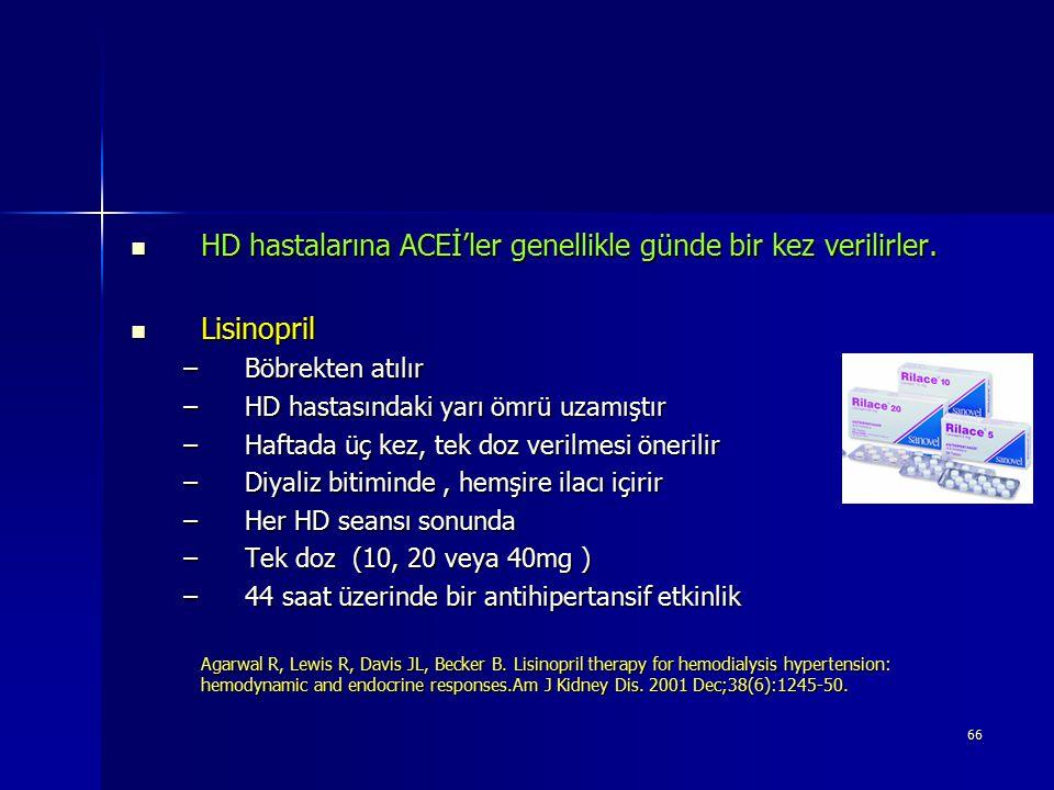 66 HD hastalarına ACEİ'ler genellikle günde bir kez verilirler. HD hastalarına ACEİ'ler genellikle günde bir kez verilirler. Lisinopril Lisinopril –Bö