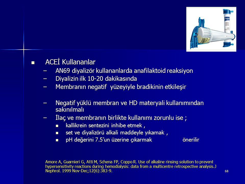 68 ACEİ Kullananlar ACEİ Kullananlar –AN69 diyalizör kullananlarda anafilaktoid reaksiyon –Diyalizin ilk 10-20 dakikasında –Membranın negatif yüzeyiyl