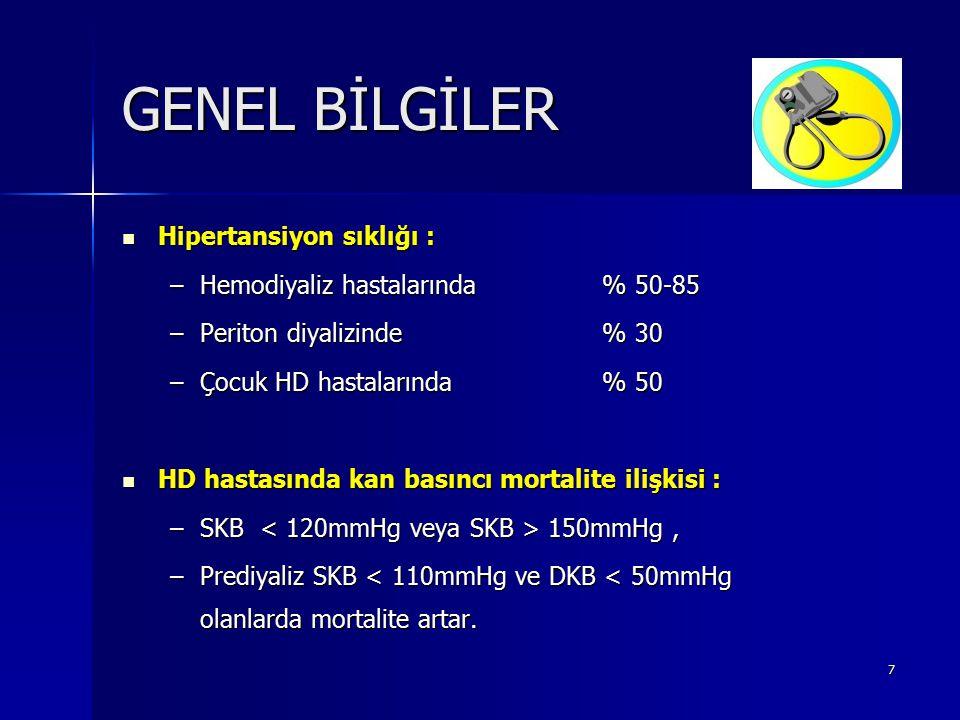 7 GENEL BİLGİLER Hipertansiyon sıklığı : Hipertansiyon sıklığı : –Hemodiyaliz hastalarında% 50-85 –Periton diyalizinde % 30 –Çocuk HD hastalarında % 5