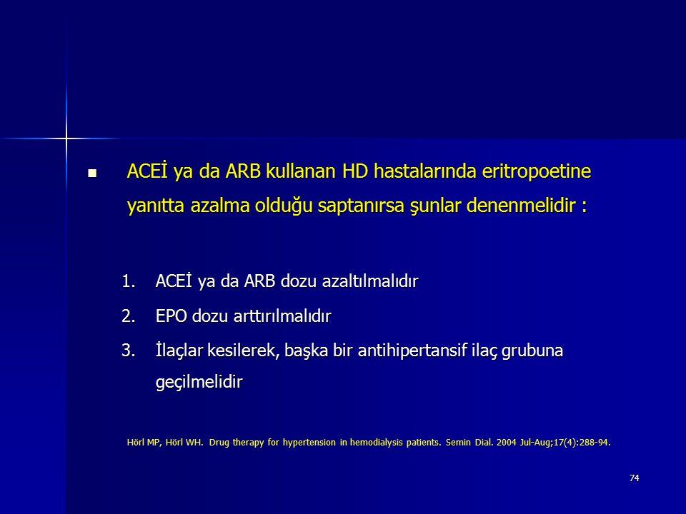 74 ACEİ ya da ARB kullanan HD hastalarında eritropoetine yanıtta azalma olduğu saptanırsa şunlar denenmelidir : ACEİ ya da ARB kullanan HD hastalarınd