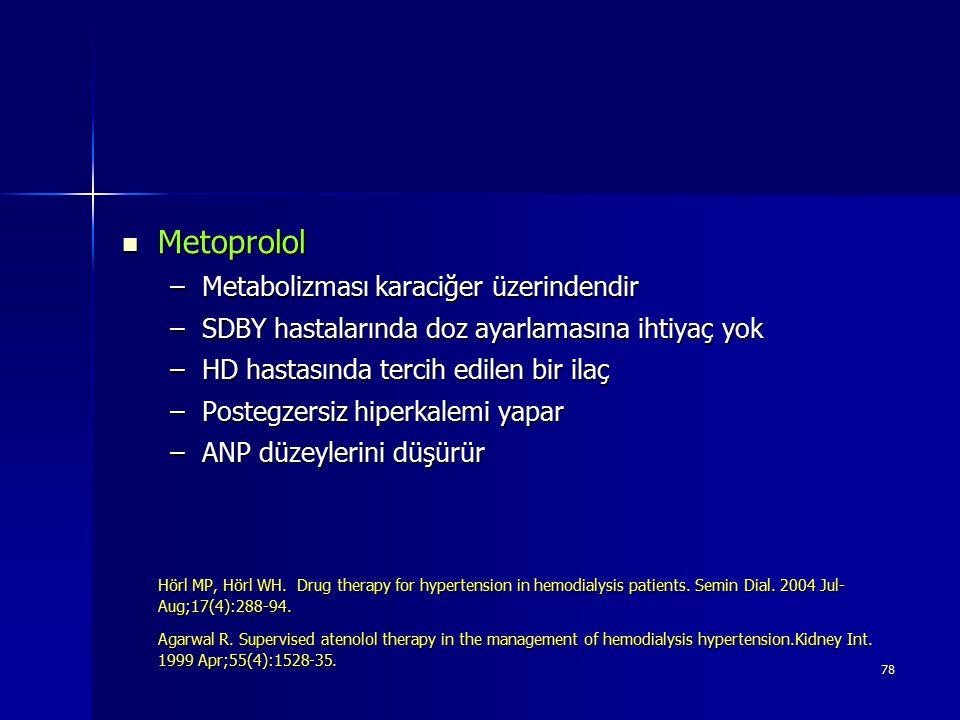 78 Metoprolol Metoprolol –Metabolizması karaciğer üzerindendir –SDBY hastalarında doz ayarlamasına ihtiyaç yok –HD hastasında tercih edilen bir ilaç –