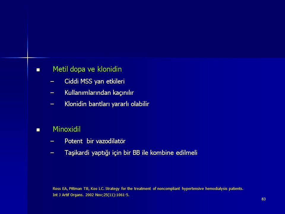 83 Metil dopa ve klonidin Metil dopa ve klonidin –Ciddi MSS yan etkileri –Kullanımlarından kaçınılır –Klonidin bantları yararlı olabilir Minoxidil Min