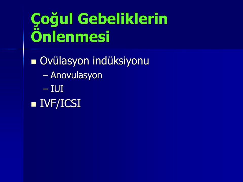 Çoğul Gebeliklerin Önlenmesi Ovülasyon indüksiyonu Ovülasyon indüksiyonu –Anovulasyon –IUI IVF/ICSI IVF/ICSI