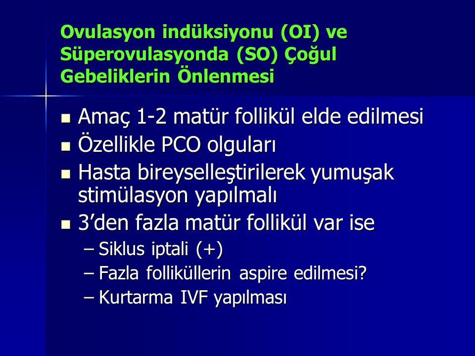 Ovulasyon indüksiyonu (OI) ve Süperovulasyonda (SO) Çoğul Gebeliklerin Önlenmesi Amaç 1-2 matür follikül elde edilmesi Amaç 1-2 matür follikül elde ed