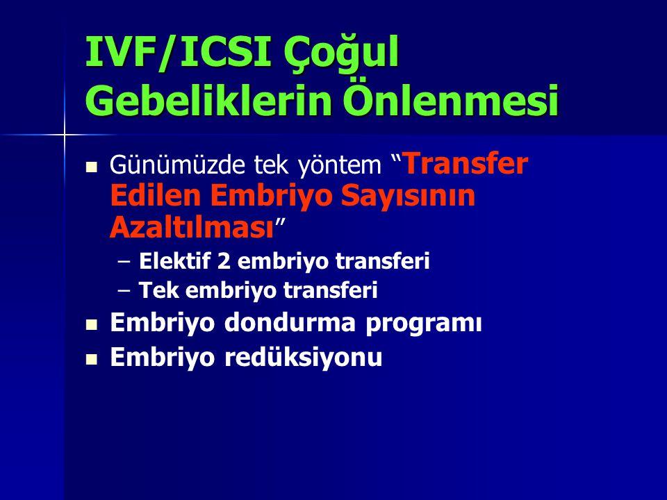 """IVF/ICSI Çoğul Gebeliklerin Önlenmesi Günümüzde tek yöntem """" Transfer Edilen Embriyo Sayısının Azaltılması """" – –Elektif 2 embriyo transferi – –Tek emb"""
