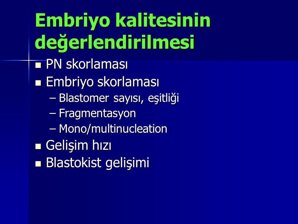 Embriyo kalitesinin değerlendirilmesi PN skorlaması PN skorlaması Embriyo skorlaması Embriyo skorlaması –Blastomer sayısı, eşitliği –Fragmentasyon –Mo