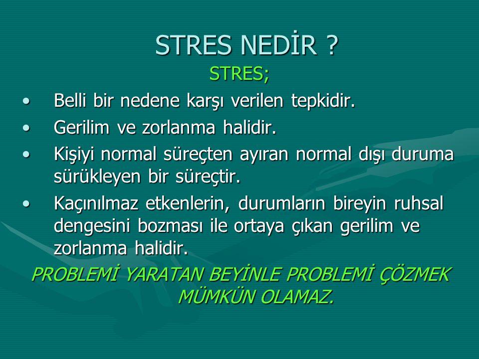 STRES NEDİR ? STRES; Belli bir nedene karşı verilen tepkidir.Belli bir nedene karşı verilen tepkidir. Gerilim ve zorlanma halidir.Gerilim ve zorlanma