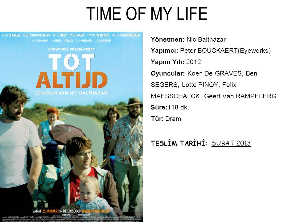 TIME OF MY LIFE Yönetmen: Nic Balthazar Yapımcı: Peter BOUCKAERT(Eyeworks) Yapım Yılı: 2012 Oyuncular: Koen De GRAVES, Ben SEGERS, Lotte PINOY, Felix