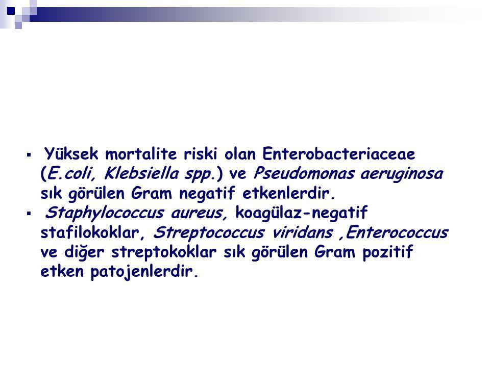 Yüksek mortalite riski olan Enterobacteriaceae (E.coli, Klebsiella spp.) ve Pseudomonas aeruginosa sık görülen Gram negatif etkenlerdir.  Staphyloc