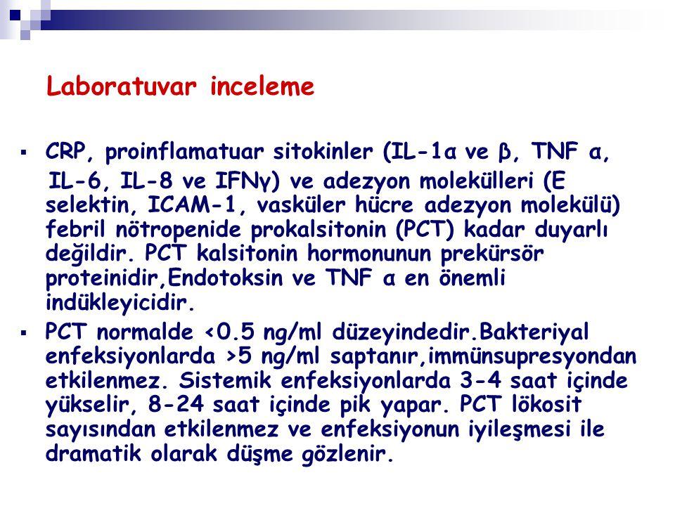 Laboratuvar inceleme  CRP, proinflamatuar sitokinler (IL-1α ve β, TNF α, IL-6, IL-8 ve IFNγ) ve adezyon molekülleri (E selektin, ICAM-1, vasküler hüc