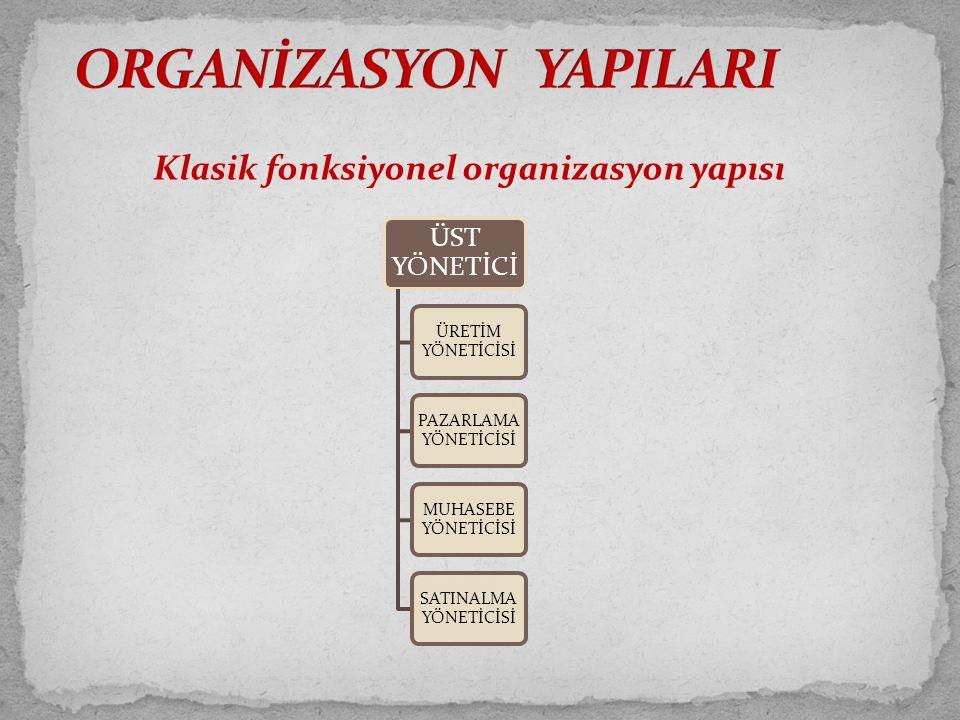 Klasik fonksiyonel organizasyon yapısı ÜST YÖNETİCİ ÜRETİM YÖNETİCİSİ PAZARLAMA YÖNETİCİSİ MUHASEBE YÖNETİCİSİ SATINALMA YÖNETİCİSİ