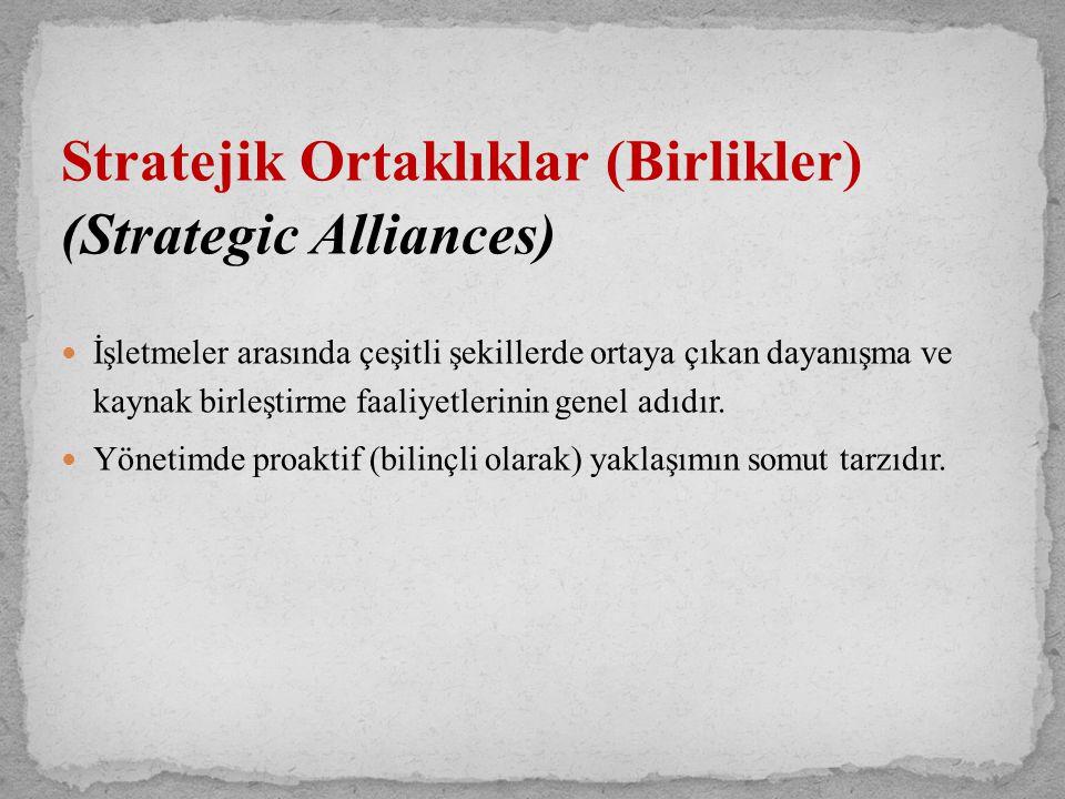Stratejik Ortaklıklar (Birlikler) (Strategic Alliances) İşletmeler arasında çeşitli şekillerde ortaya çıkan dayanışma ve kaynak birleştirme faaliyetle